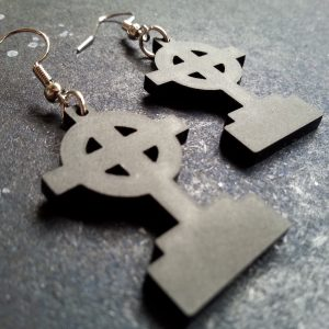 black headstone gravestone earrings shaped with circle cross