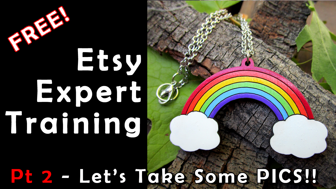 expert etsy training free let's take some pics text with rainbow necklace on bark with leaves picture