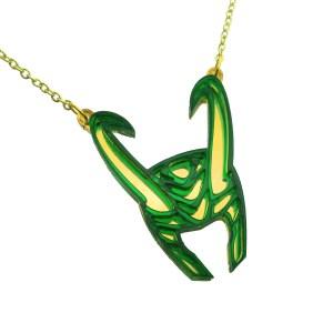 loki god of mischief green and gold helmet pendant statement necklace