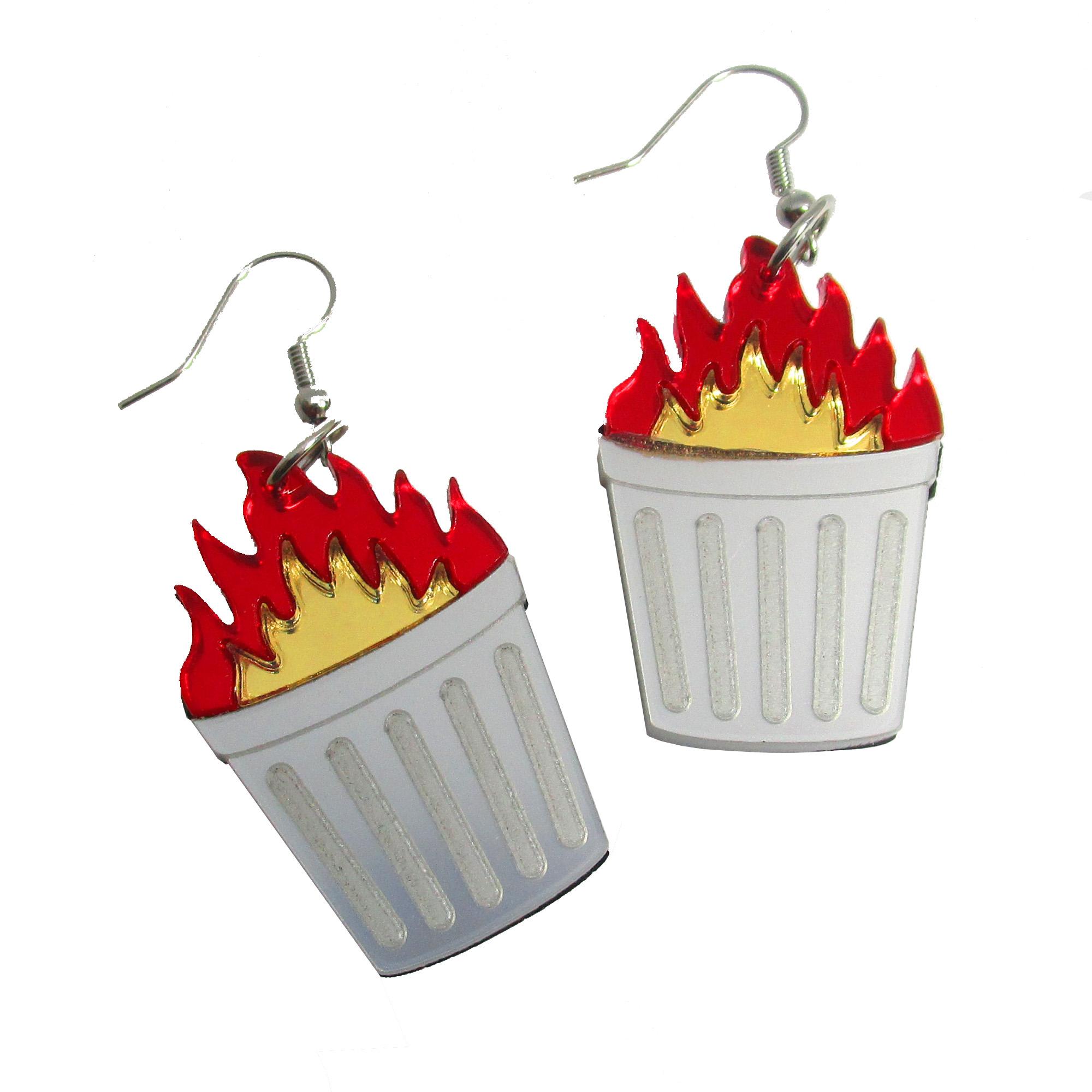 trash fire garbage can on fire funny joke dangle earrings symbol funny jewelry