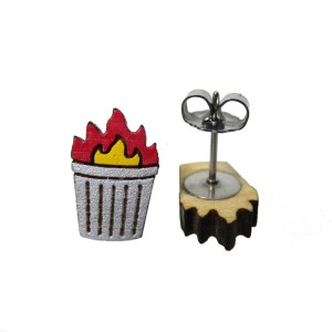 Trash fire burning dumpster trash can funny little wood painted stud earrings
